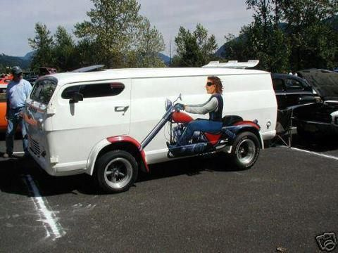 Custom Van With A Chopper Mural