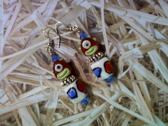 Red Green Blue and White Cylops Alien Earrings 1581 by tlcorbett