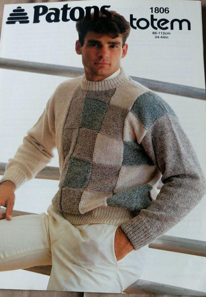 Men\'s Colour Block Sweater Patons 1806 vintage knitting pattern DK ...