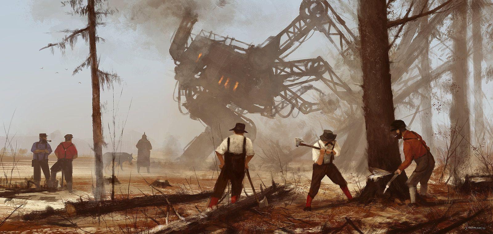1920 - machine over muscle, Jakub Rozalski on ArtStation at https://www.artstation.com/artwork/V23k4