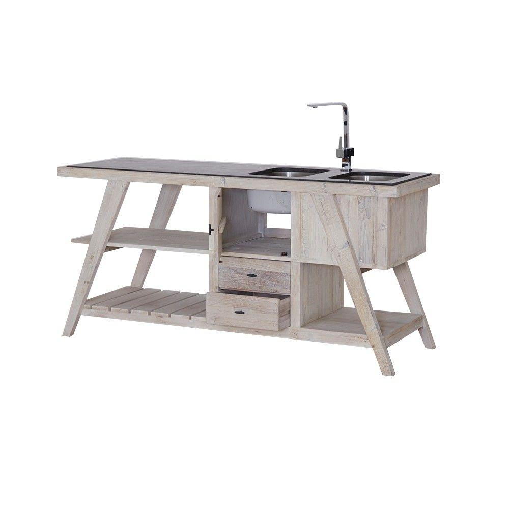 Kücheninsel 2 Becken Pinie recycelt Steinplatte schwarz 180x86x60cm ...