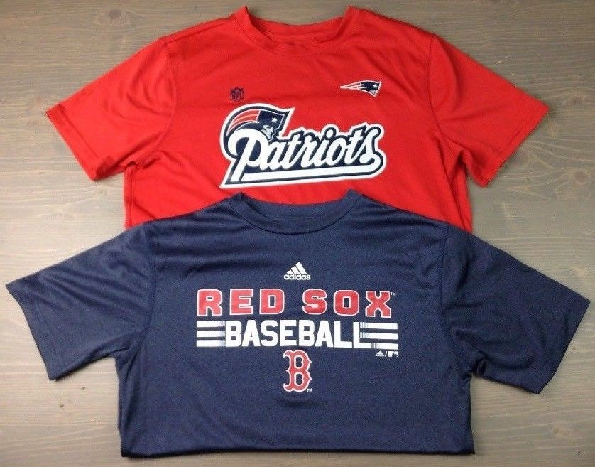 2f4450e6438 New England Patriots Boston Red Sox T Shirt Large 14 16 Youth Boys Red  Blue-2 PC