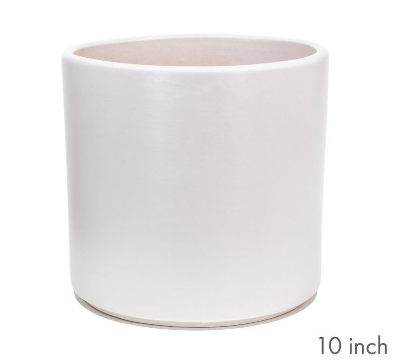 Matte White Cylinder Planter Indoor Modern Flower Pot Ceramic Terracotta 6 8 And 10 Inch Sizes In 2020 Ceramic Succulent Planter Planters 10 Things