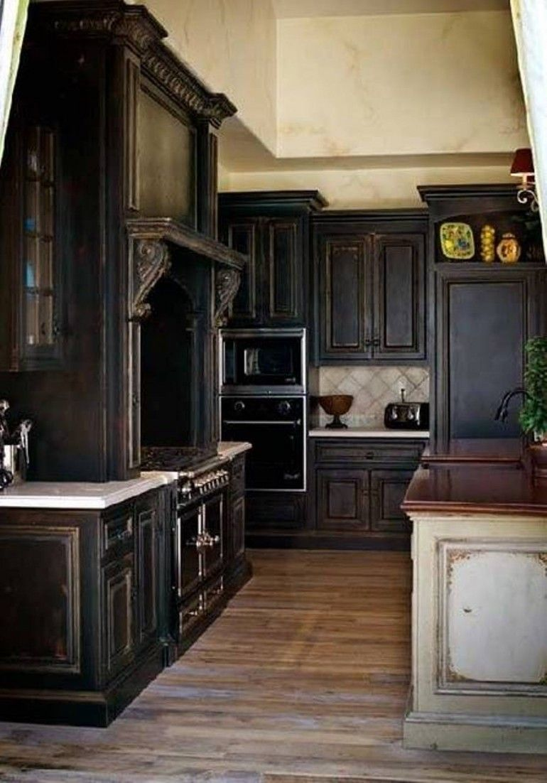 Elegant Distressed Black Kitchen Cabinets With Hardwoord Floors   Black kitchen cabinets ...