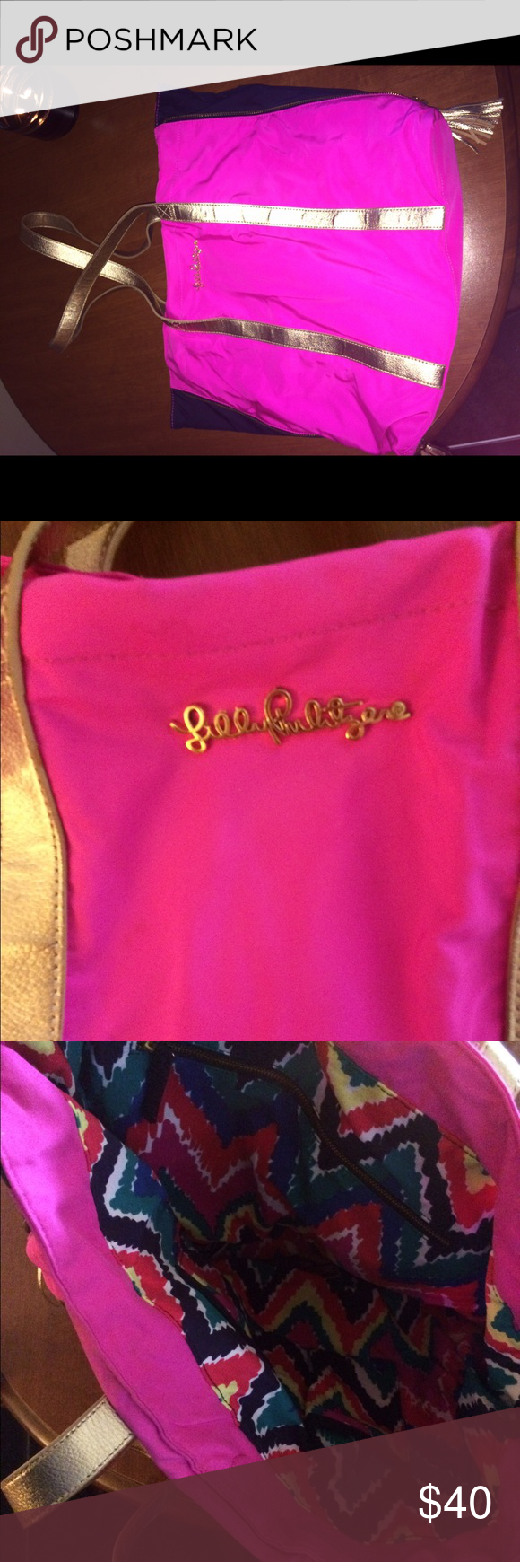 Lily Pulitzer Pink and Navy Bag! ⚡️ This is a great Lilly Pulitzer tote in hot pink, gold, and navy. There are gold tassels on the bottom of either side. I only used this once or twice so it is in great condition! Lilly Pulitzer Bags Totes