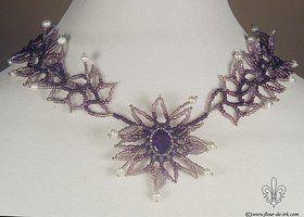 Purple flower necklace N628 by Fleur-de-Irk