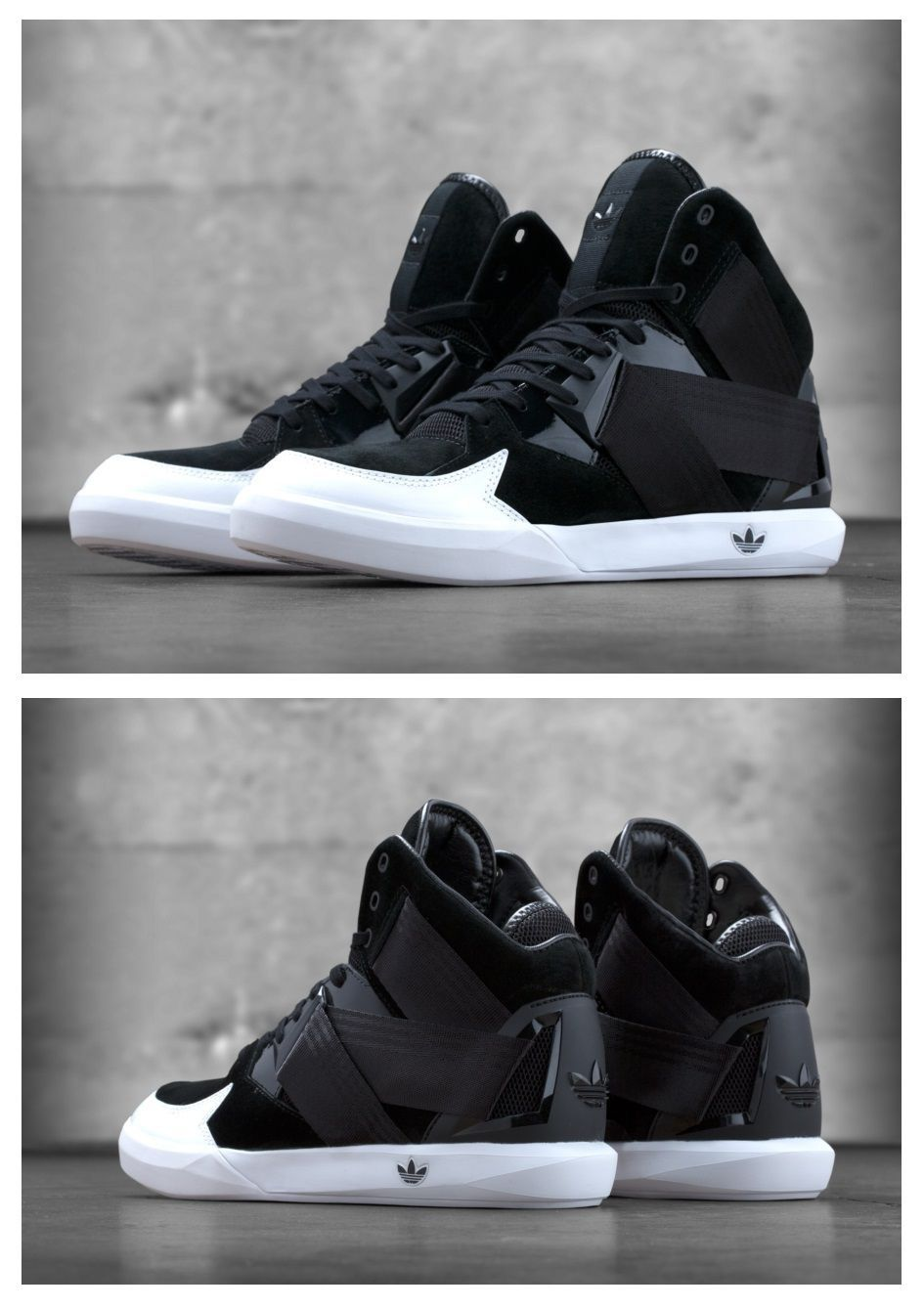 168fa40afe Adidas black and white high tops | shoes | Shoes, Nike Shoes ...