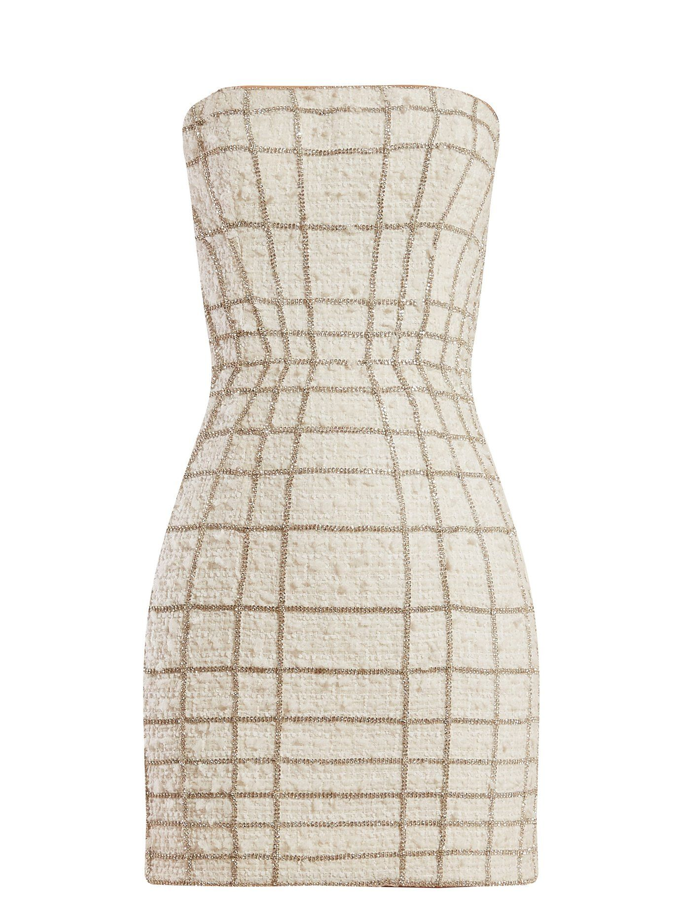59235944 Crystal web-embellished tweed mini dress | Balmain | MATCHESFASHION.COM UK