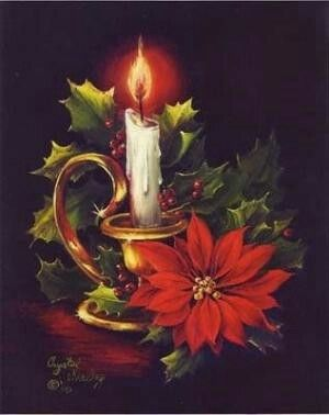Vintage Christmas Poinsettia Candle Light