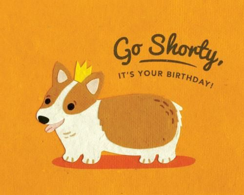 Shorty Birthday Card Handcrafted Cards Recycled Paper Blank Inside Fair Trade