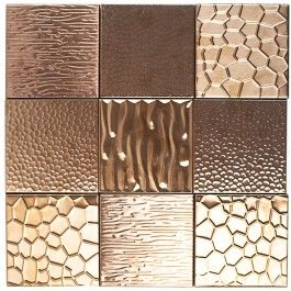 Best Metal Etched Copper Stainless Steel 4X4 Tiles Copper 400 x 300