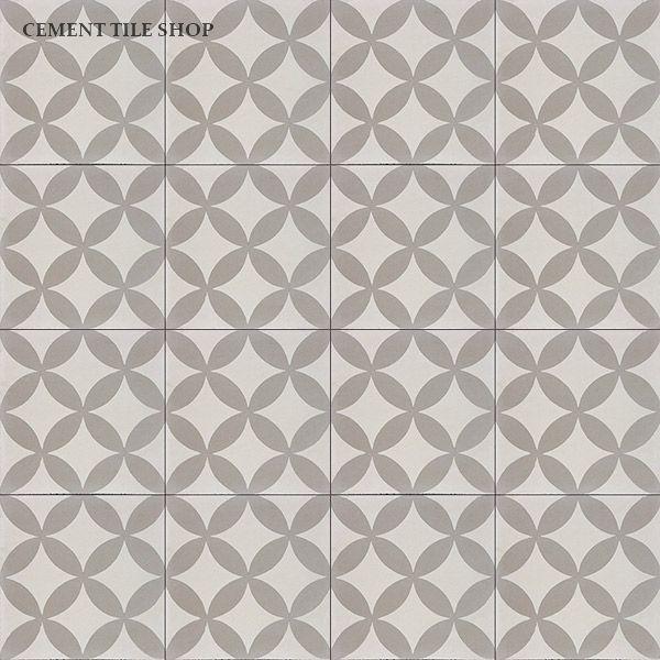 Cement Tile Shop - Encaustic Cement Tile Circulos Gris laundry floor