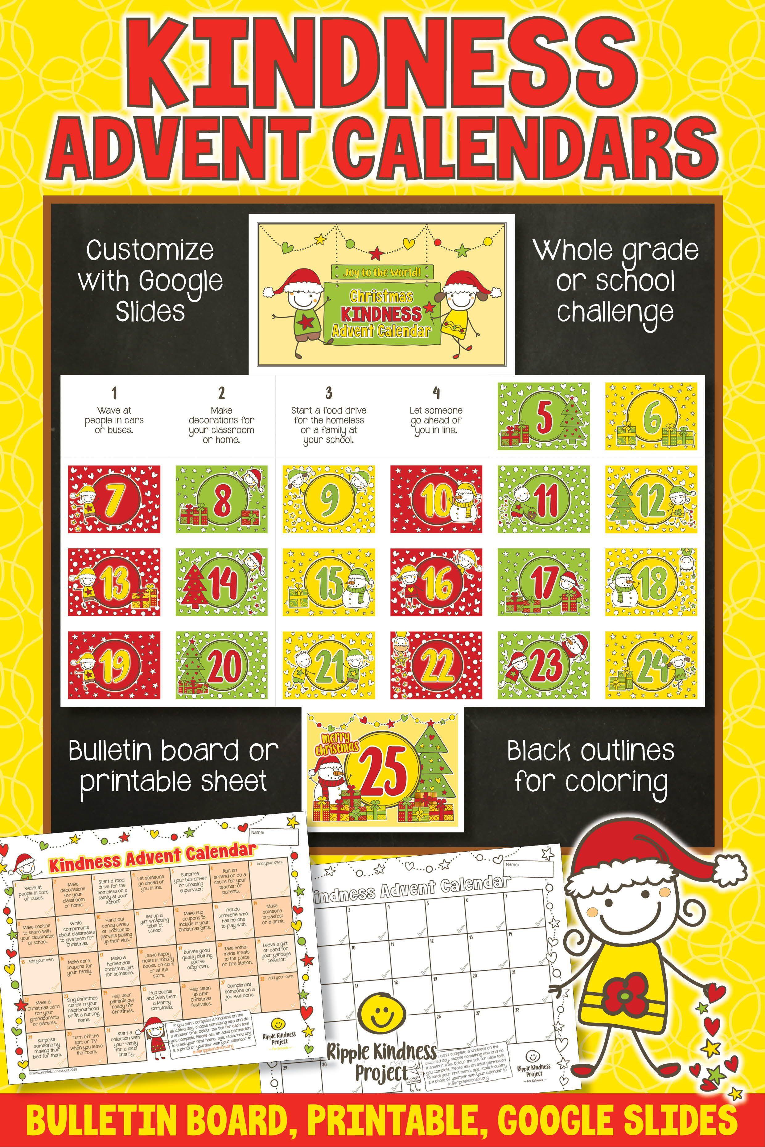 Christmas Kindness Advent Calendar Printable Worksheet Or
