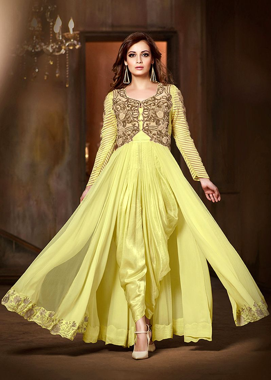 Dia Mirza Yellow Net Dhoti Style Suit Bollywood dress