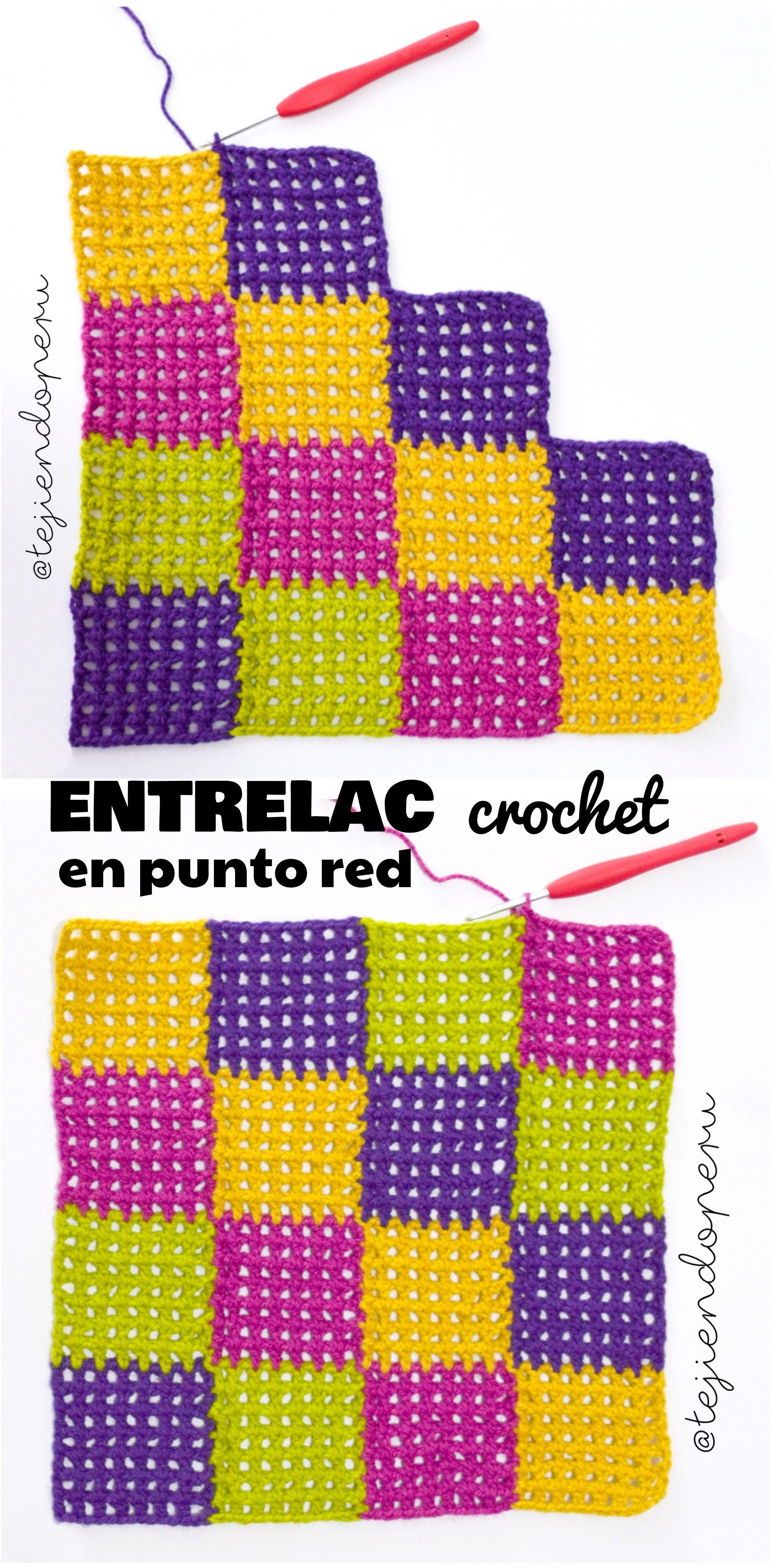Punto #entrelac con punto red tejido a #crochet Vídeo tutorial del ...