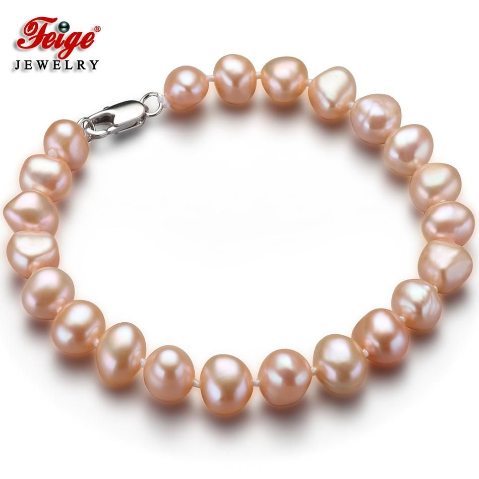 Feige baroque style pink natural freshwater pearl strand bracelet