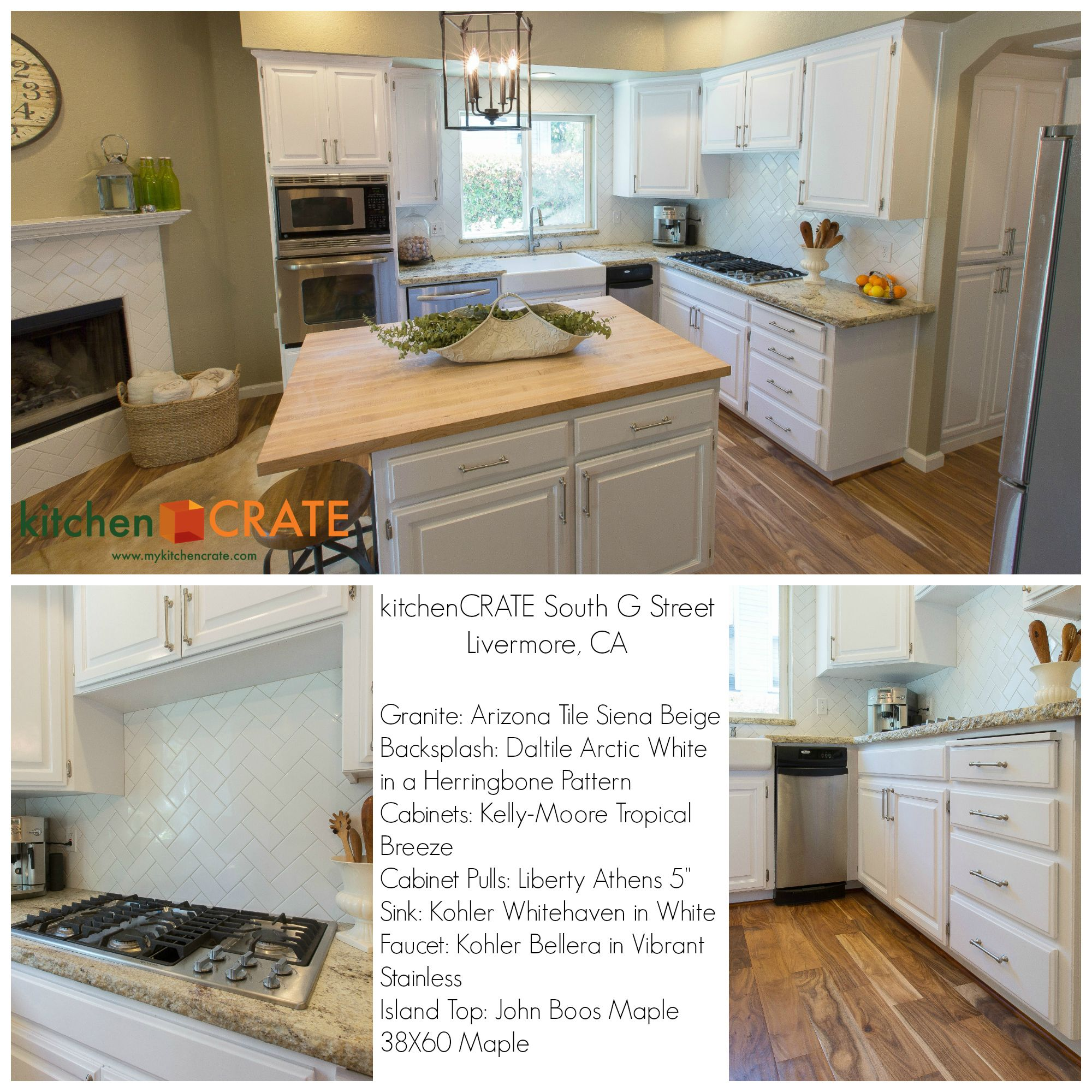 This Livermore CA Kitchen Features A Beautiful Butcherblock - Daltile livermore