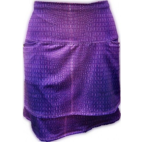 "Lucky in Love Women's Fashion Pull On Knit Printed 17"" Skort-... ❤ liked on Polyvore featuring tops, sweaters, print top, pattern tops, knit skorts, knit top and purple top"