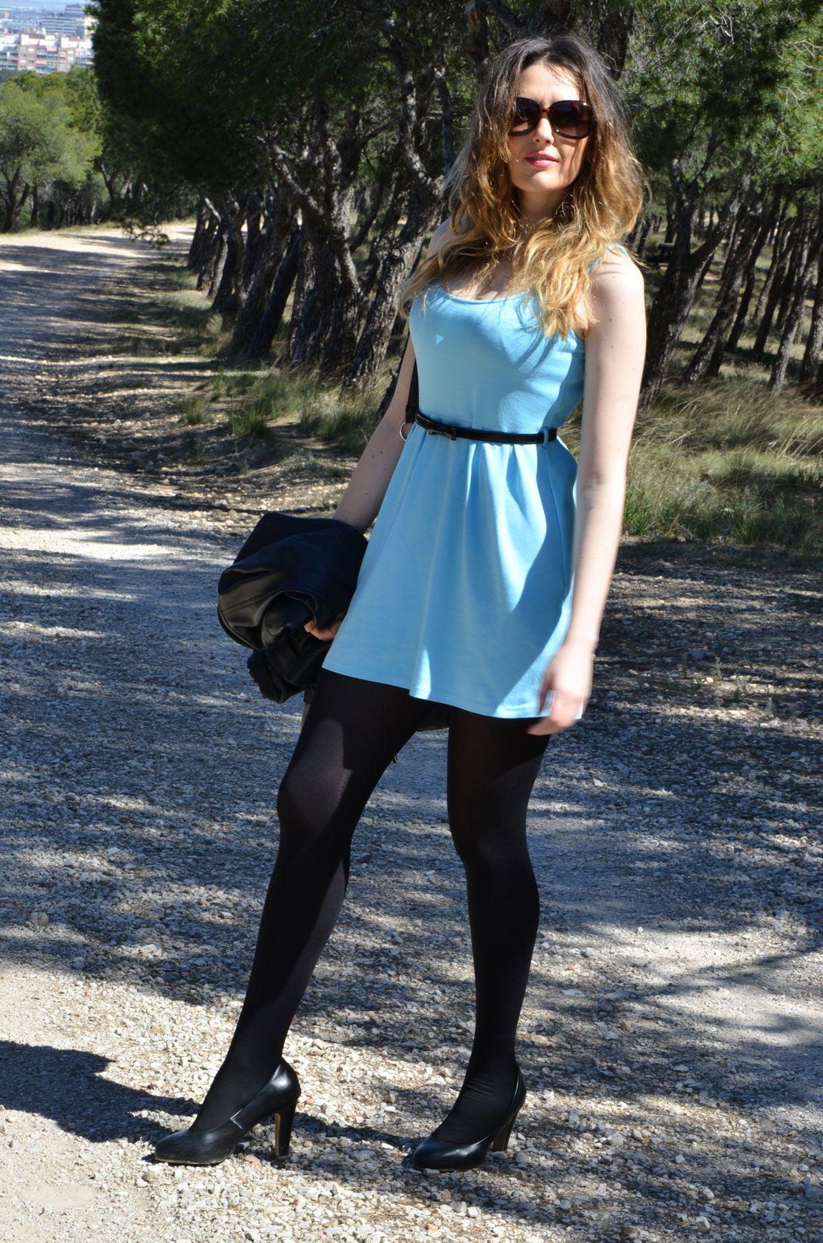 Baby Blue Dress Http Oneusefashion Wordpress Com 2014 04 11 Baby Blue Dress Dress With Stockings Baby Blue Dresses Miniskirt Outfits [ 1812 x 1200 Pixel ]