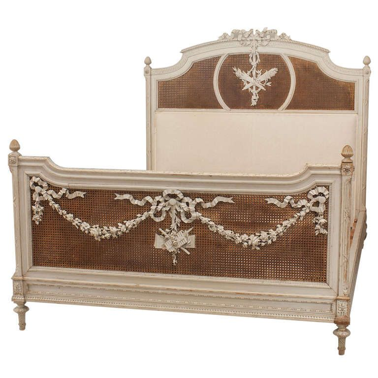 French Louis Xvi Style Carved Queen Sized Bed With Caning