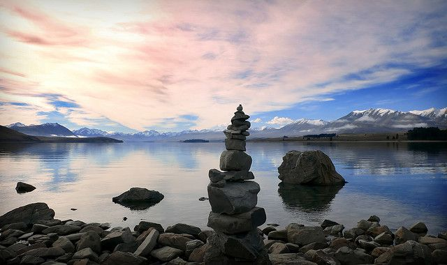 New Zealand - stacking stones by :vicki:, via Flickr