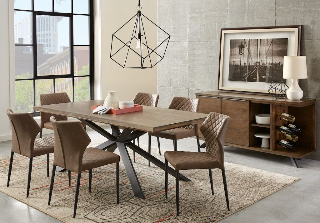 Fine Alessi Brown 7 Pc Dining Room With Brown Chairs Dining Home Interior And Landscaping Mentranervesignezvosmurscom