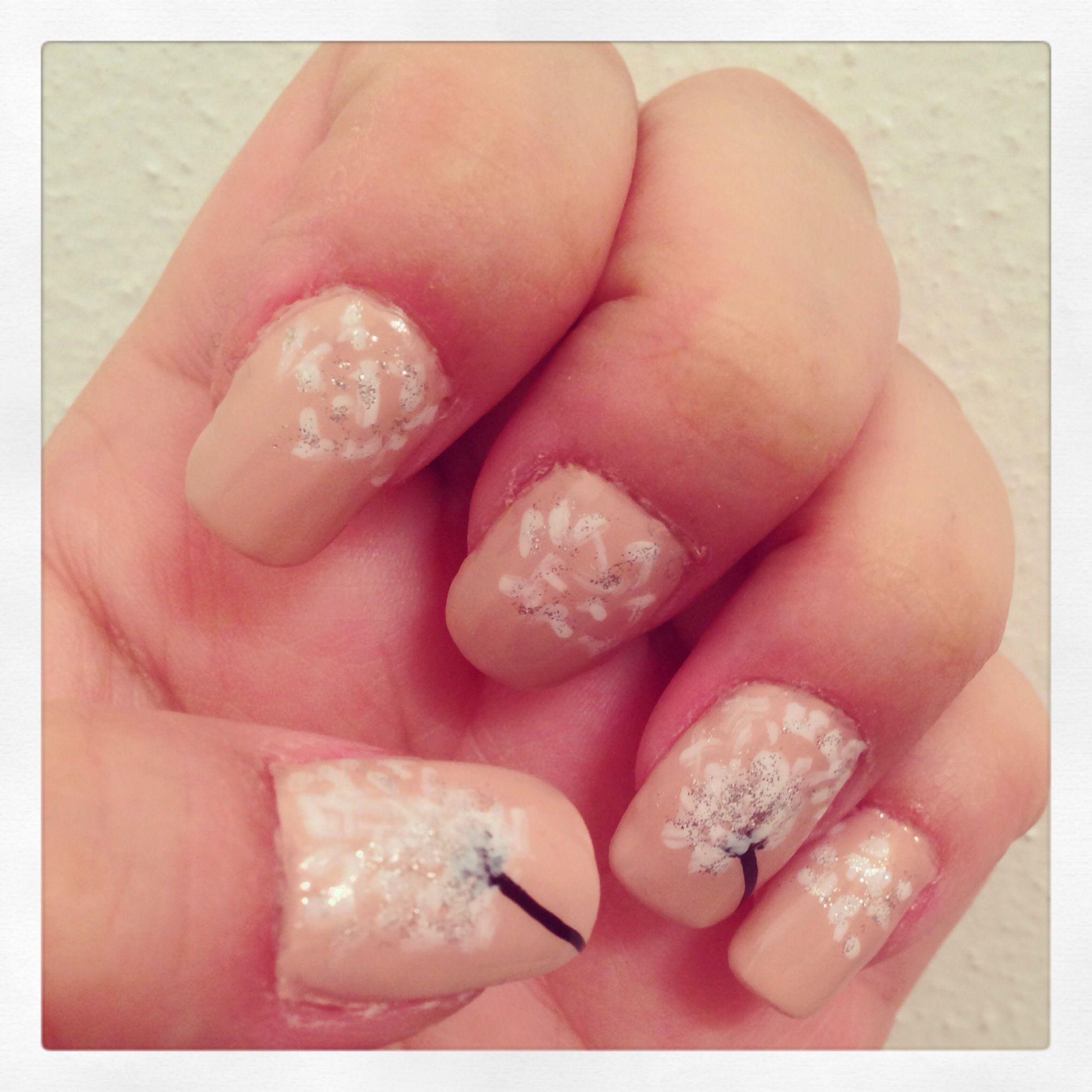 Dandelion nails. Did it myself. ❤ nail art! | Nails, Nails, Nails ...