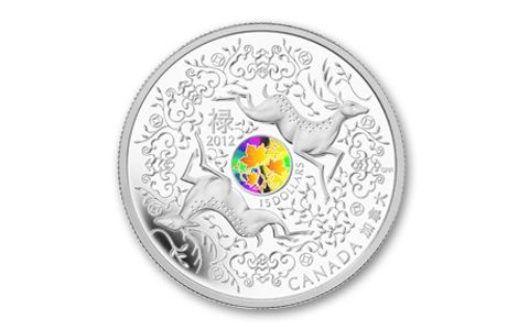 "Canadian silver coin ""Maple of Good Fortune,"" The Five Blessings symbol  confers all of the elements of good fortune: long life, health, virtue, wealth, and peaceful old age."
