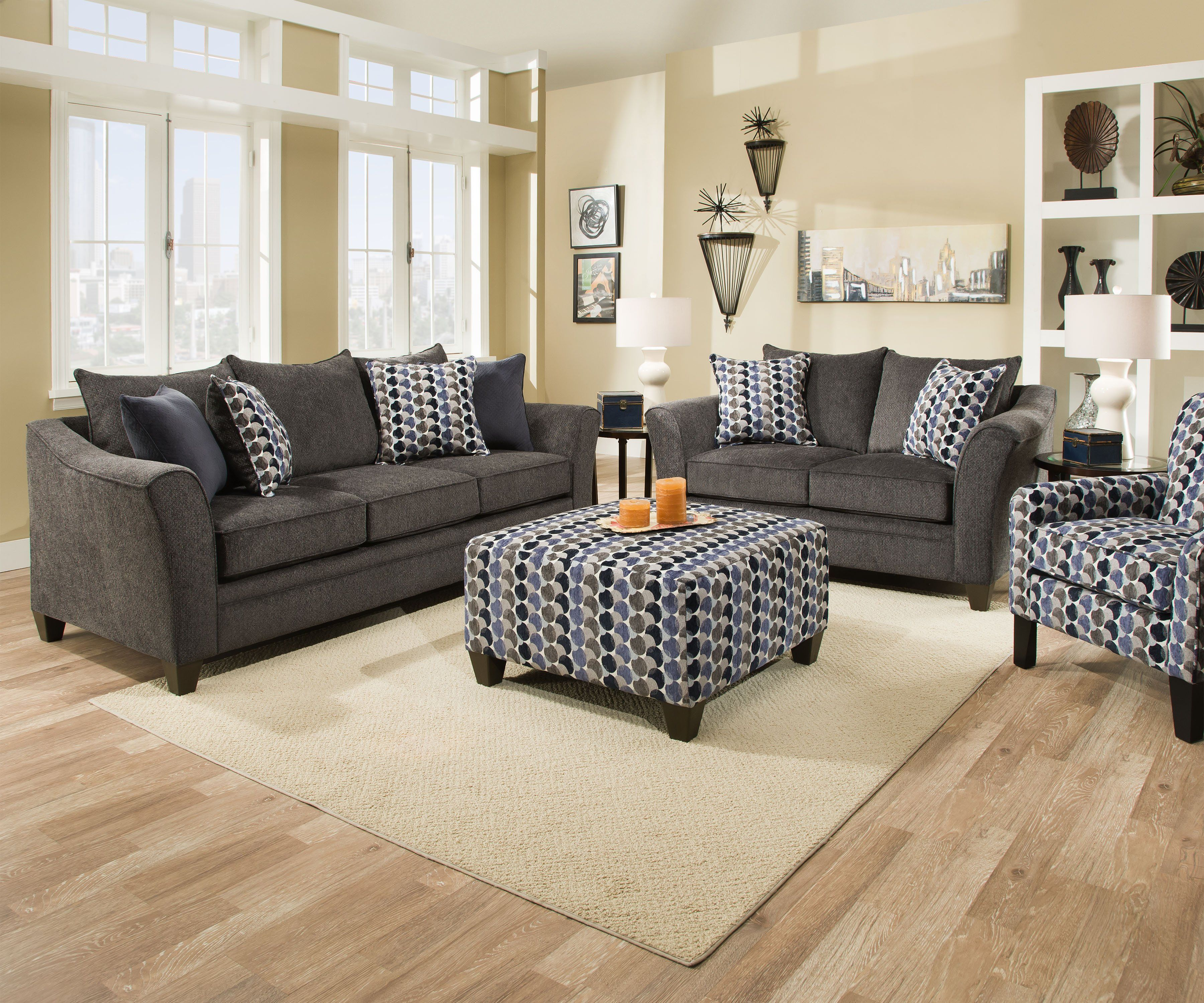 Albany Slate Sofa And Loveseat Sofa And Loveseat Set Living Room Sets Accent Chairs For Living Room