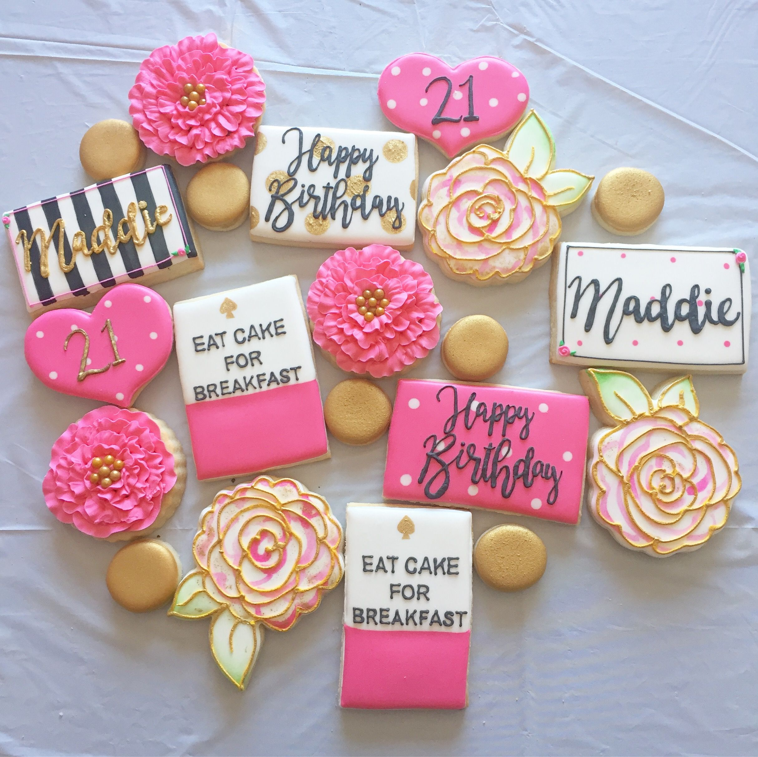 Kate spade New York inspired birthday theme decorated cookies by ...