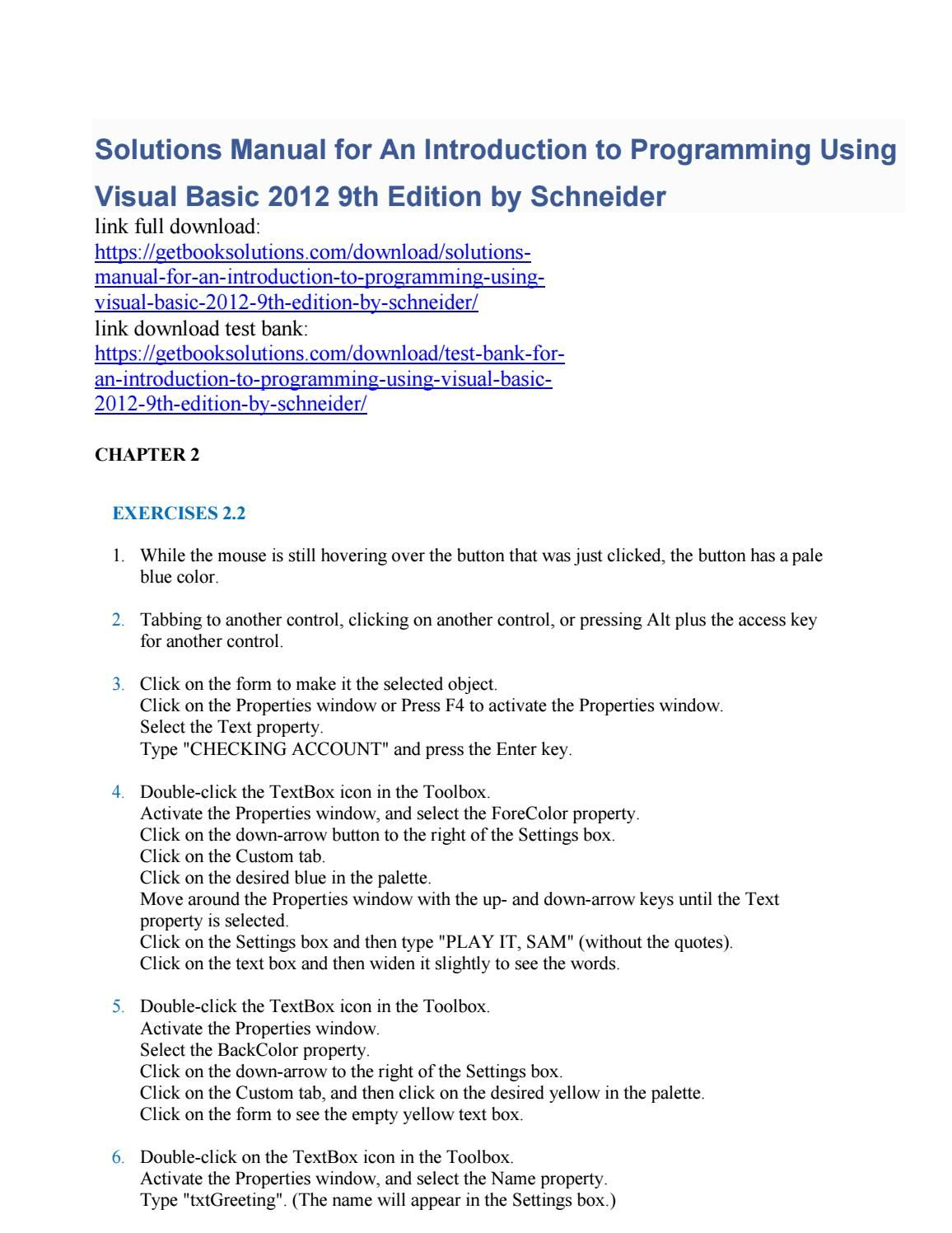 solutions manual for an introduction to programming using visual rh pinterest com visual basic programming guide visual basic programming guide download