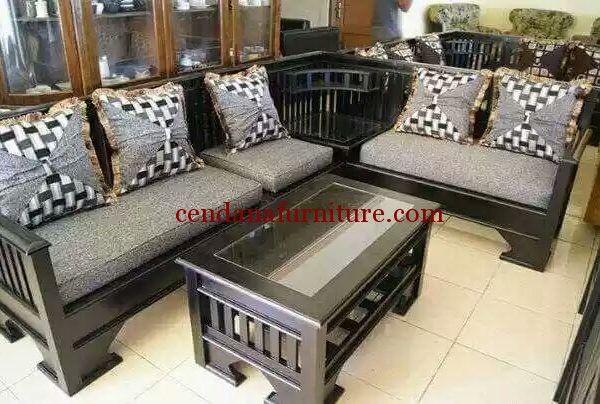 set kursi tamu sudut minimalis hitam terbuat dari material kayu jati yang kami sempurnakan dengan finishing