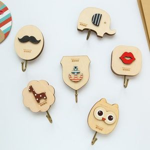 Ju cute wooden sticky hook cartoon shape three-dimensional pattern strong wall behind the glass …