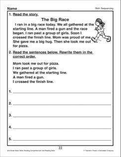 Sequencing 2nd Grade Reading Skills Printables Kindergarten Worksheets Sight Words Sequencing Activity 2nd Grade Reading Free second grade reading worksheets