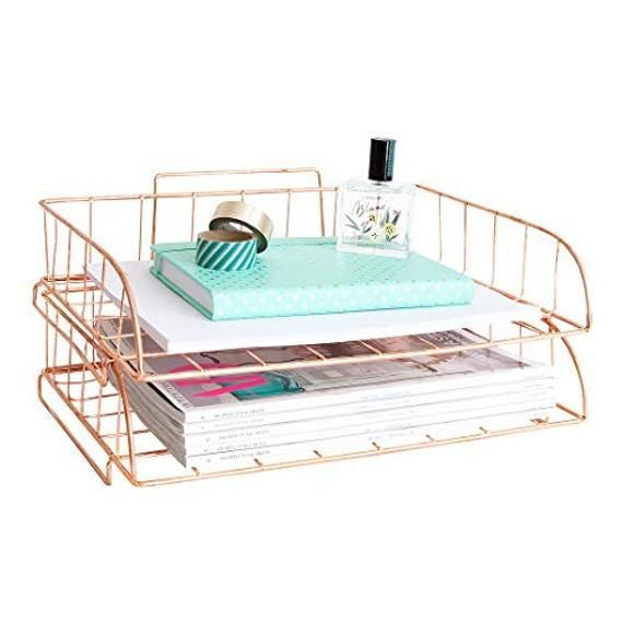 P B 2 Piece Rose Gold Stackable File Trays B P P This Two Tier Two Piece Rose Gold Organizer Set Is Perfect Fo Desk Organization Gold Desk Paper Tray