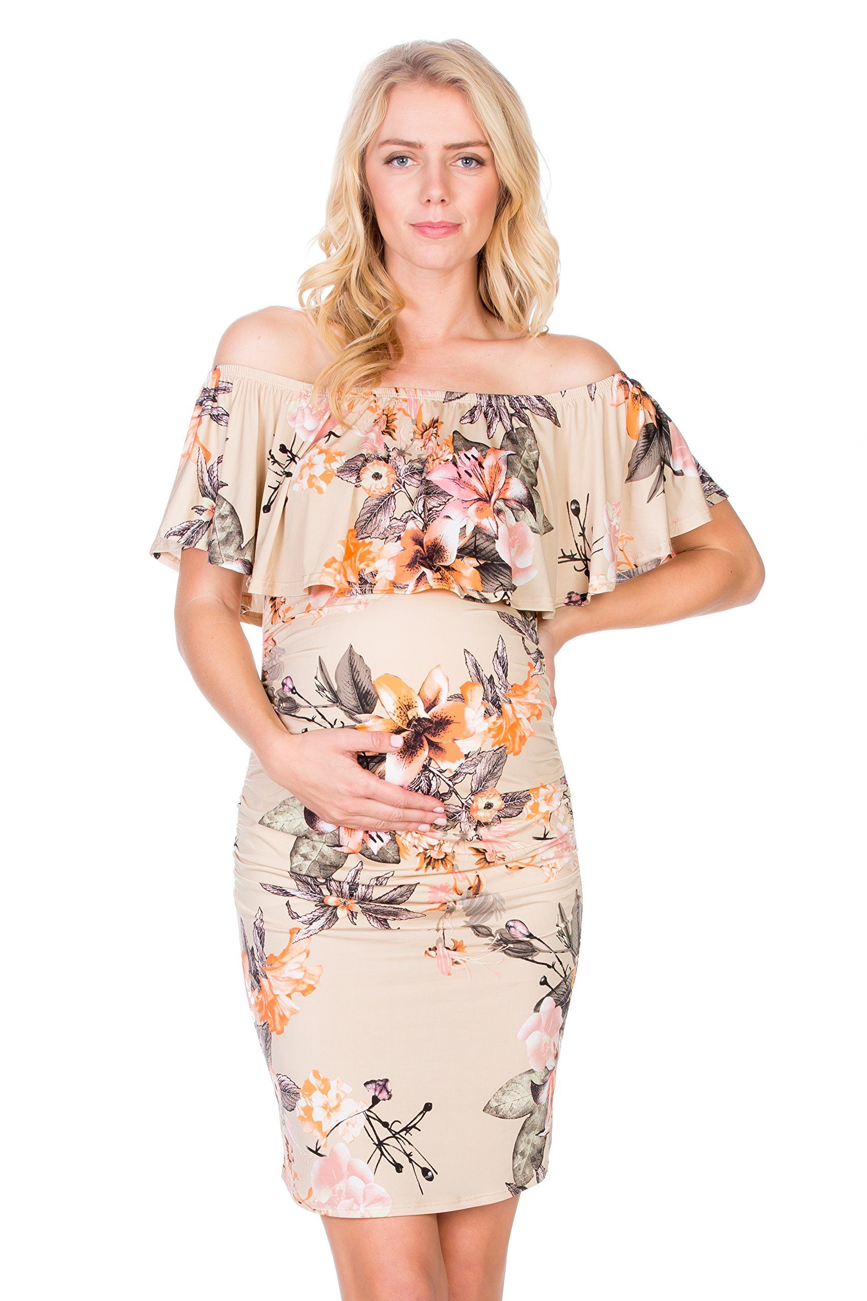 f04c2a6bf641 Maternity Dresses - My Bump Womens Floral Ruffle Off Shoulder Maternity  DressMade in USA Large Sand Pink Flower     Want additional info  Click the  picture.