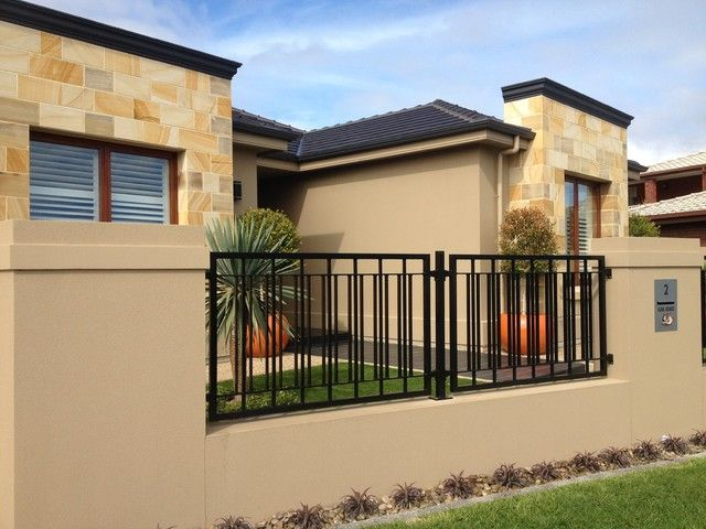 home accessories the elegance and modern home fencing and gates also beautiful wall color design then grass green also black iron fence design the modern - Wall Fencing Designs