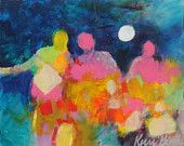 """Small Abstract Figure Painting, Colorful Intuitive Art, Original Acrylic Modern Art """"We Walk Forward Together"""""""