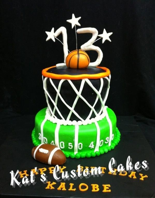 Football And Basketball Cake With Images Football Birthday
