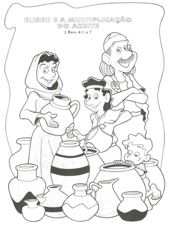 Elisha And The Widow S Oil Bible Coloring Printable Sunday