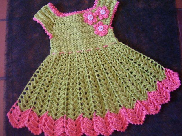 Vestidos Vestido De Niña A Ganchillo Pistacho Con Flores