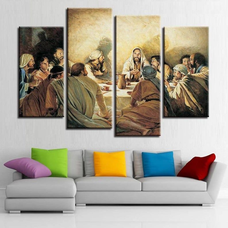 Last Supper Wall Art Jesus And Disciples Christian Canvas Etsy In 2021 The Last Supper Painting Last Supper Painting
