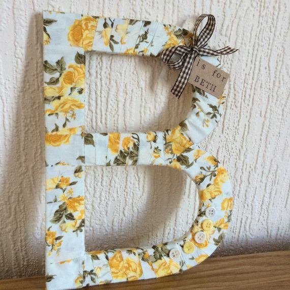Yellow Floral Decorative Letters - Fabric Wrapped Wooden Letters.
