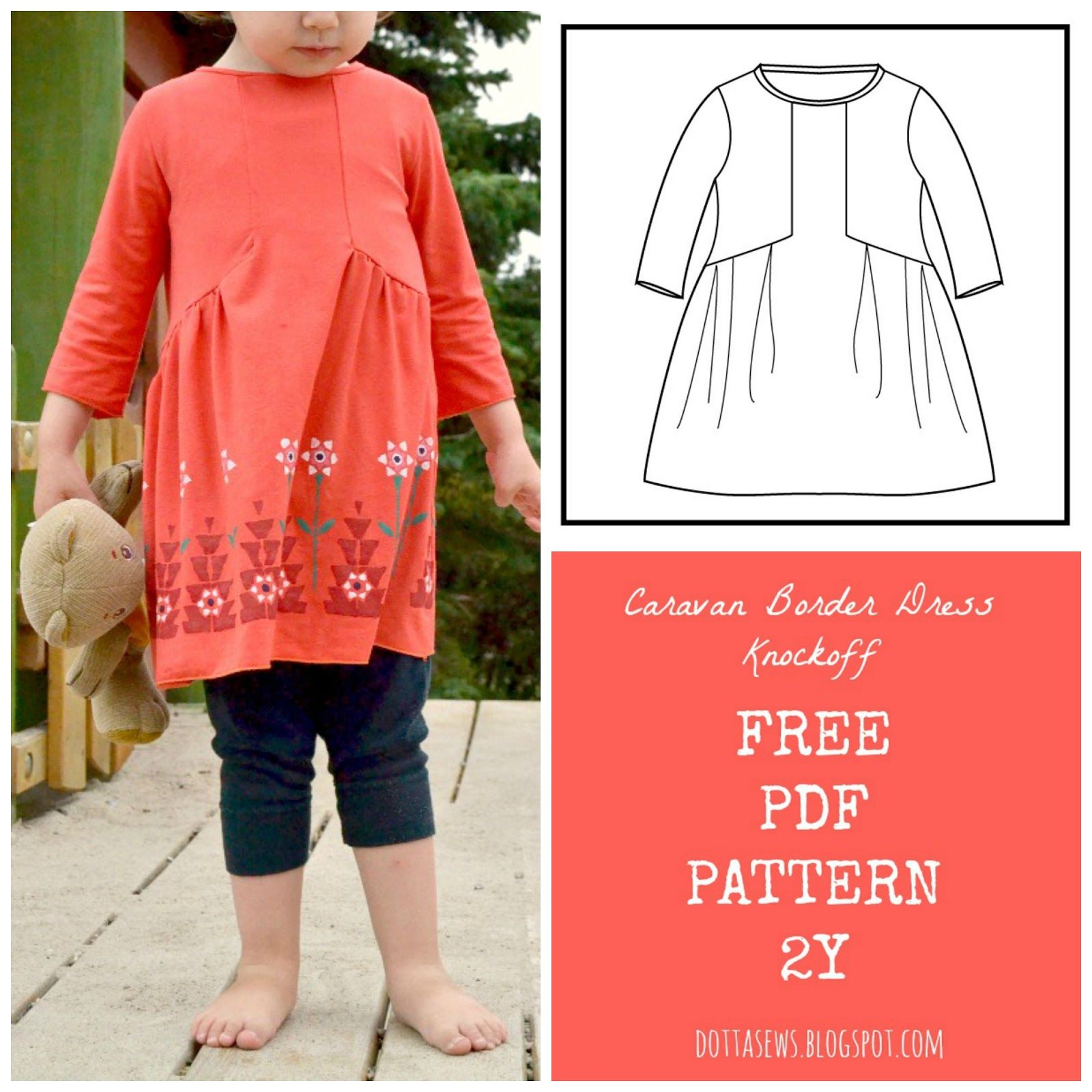 Caravan Border Dress Knockoff FREE PDF Pattern - 2Y only | Free ...