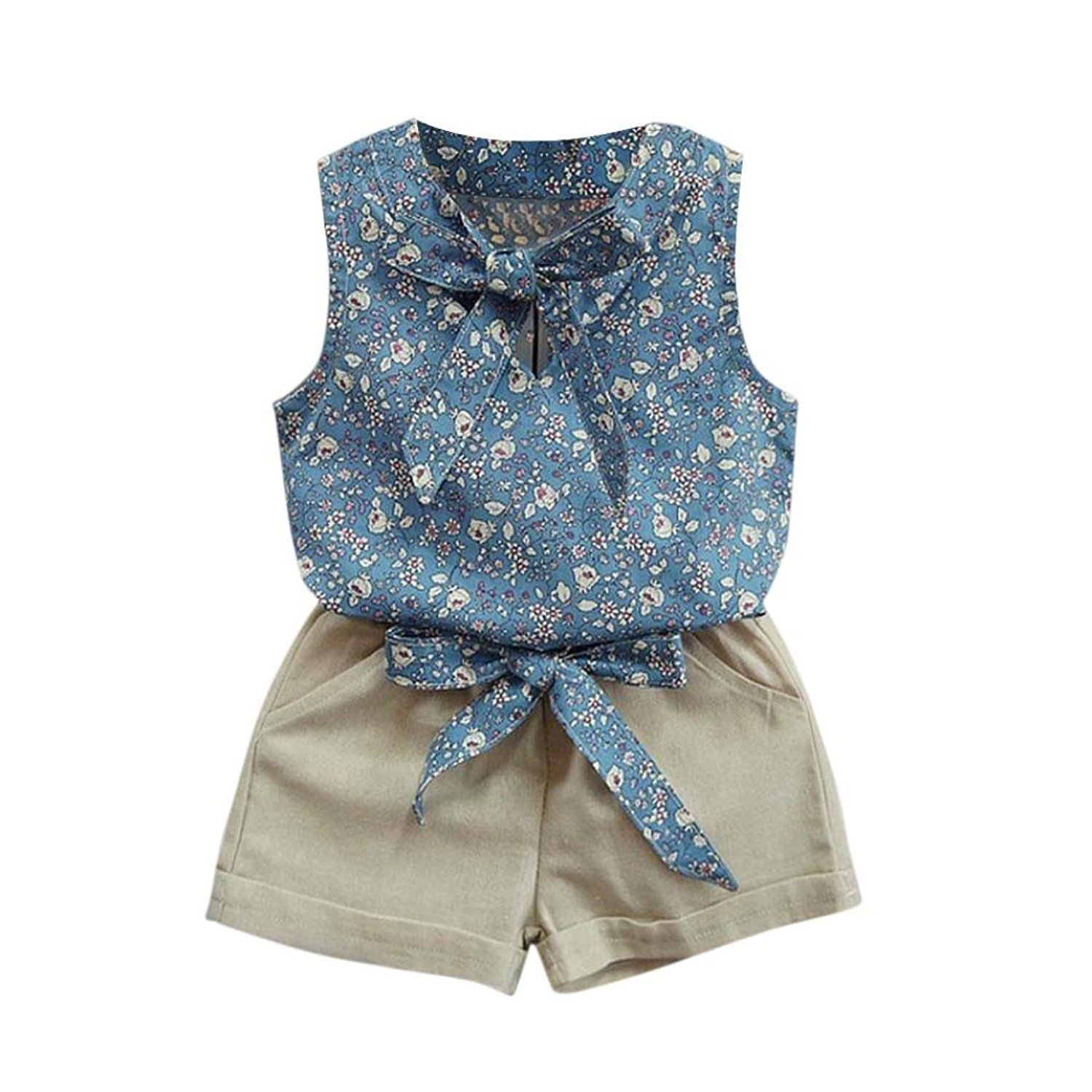 Amazon TIFENNY Clearance Baby Girls Floral Bowknot Vest T Shirt