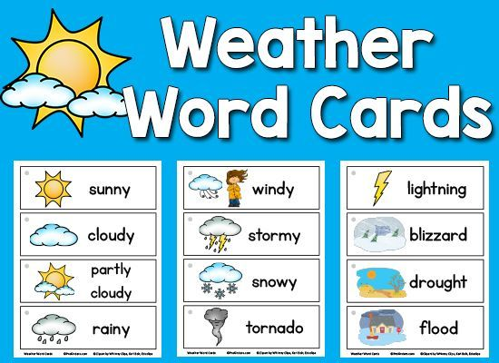 Weather Picture-Word Cards : Kindergarten, Weather and ...