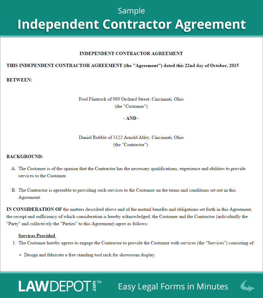 Sample Independent Contractor Agreement  Marketing  Business