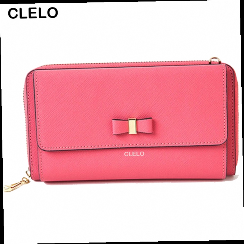 42.89$  Watch now - http://alioc2.worldwells.pw/go.php?t=32721712891 - CLELO 2016 New women's long Genuine Leather casual wallets Messenger Bags Fashion Women's Crossbody Bag Shoulder handbags