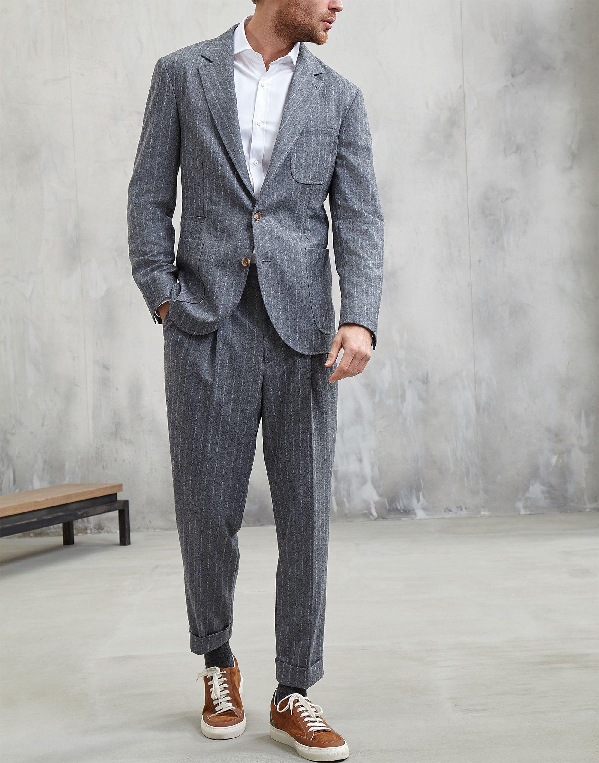 fc71314256d0 Brunello Cucinelli Suit   Man in 2019   Flannel suit, Coat dress ...