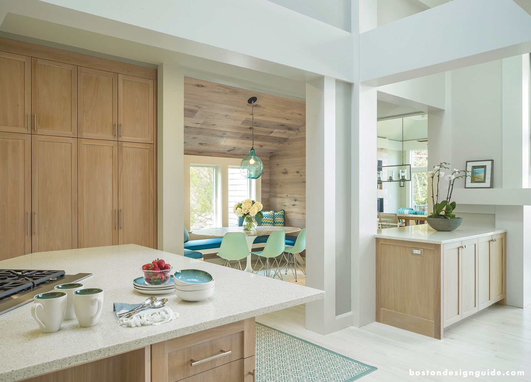 Light Wood Mint Accents Nautical Elements Custom Woodwork By Toby Leary Fine Woodworking With Images Oak Cabinets Built In Furniture Custom Kitchen Cabinets